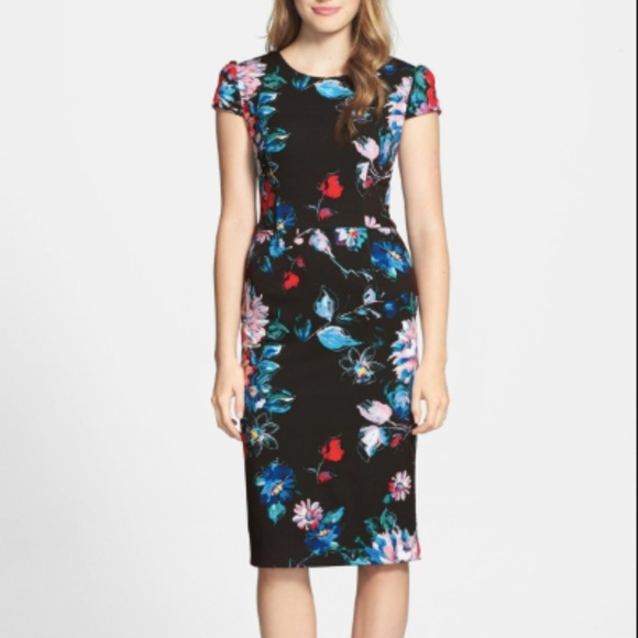 Betsey Johnson Dresses & Skirts - Betsey Johnson Floral Cap Sleeve Stretch Dress